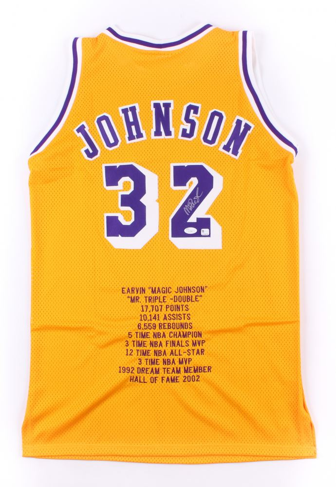 separation shoes 47811 c162b Magic Johnson Signed Lakers Career Highlight Stats Jersey ...