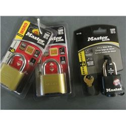 New set of 3 Master Locks / 2 Combos and 1 weather resistant