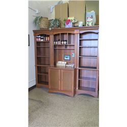 "Wooden Shelving & Cabinet System (3 sections) - 78""W x 20""D x 72.5""H Overall"