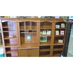 "Wooden Shelving & Cabinet System (4 sections) - 101.5""W x 20""D x 72.5""H Overall"