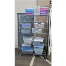 "NSF Rolling Stainless Steel Wire Shelving Unit 48"" x 18"" x 76""H"