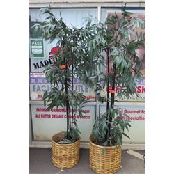 Qty 2 Tall Faux Black Bamboo Plants in Wicker Baskets