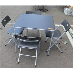 "Black Folding Card Table w/ 4 Folding Chairs 32.5"" x 33"" x 29""H"