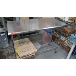 "Stainless Steel Rolling Prep Table w/Wire Undershelf 49.5"" x 24"" x 39"""