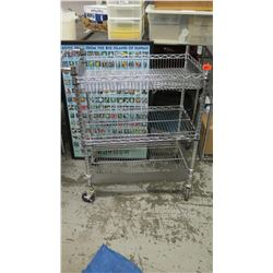 "NSF Rolling Chrome Wire Utility Cart (3 tiers) 34.5"" x 18"" x 38""H"