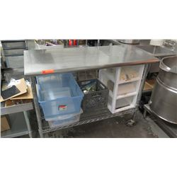 Stainless Steel Rolling Prep Table w/Wire Undershelf