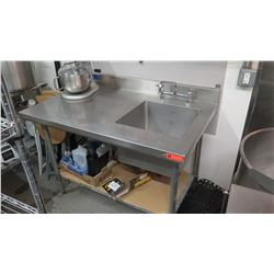 "Stainless Steel Prep Table w/ Single-Basin Sink 48"" x 30"" x 34""H"