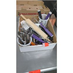 Lot of Baking Utensils: Scoops, Whisks, Rolling Pin, etc.