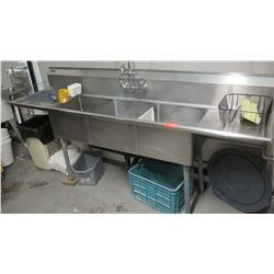 "3-Compartment Sink w/ Drainboards & Faucet 90"" x 23.5"" x 46""H to top of backsplash"