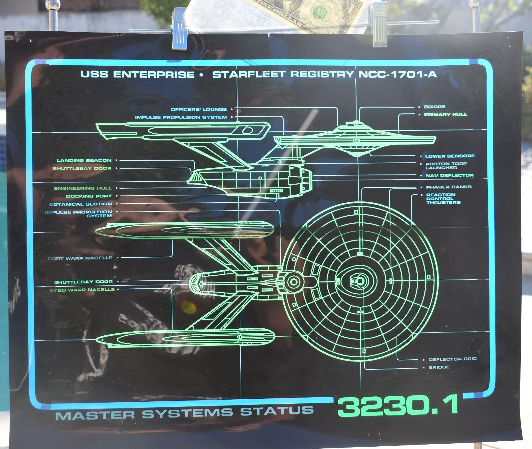 STAR TREK TNG STARSHIP ENTERPRISE SCREEN USED CONTROL PANEL A-GRADE 03