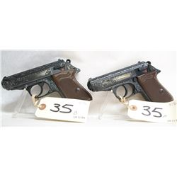 WALTHER PPK ENGRAVED SET OF HANDGUNS