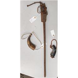 Antique Dug Rifle & 2 Powder Horns