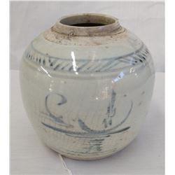 Blue & White Jar w/John Jordan COA