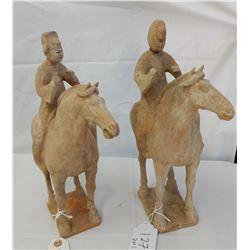 Pair of Horse & Rider Chinese Figures w/John Jordan COA