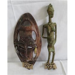African Bronze Figure & Stone Mask
