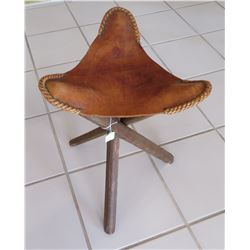 Western Leather & Wood Stool