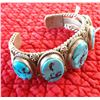 Image 5 : Navajo Sterling Silver & Turquoise Cuff