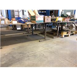 LOT OF SAW HORSES AND PLYWOOD