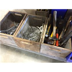 3 WOOD BOXES OF ASSORTED TOOLS