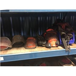 LOT OF HARD HATS, VISORS, VESTS AND MORE