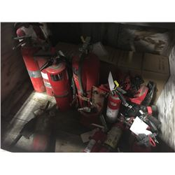 CRATE OF ASSORTED FIRE EXTINGUISHERS
