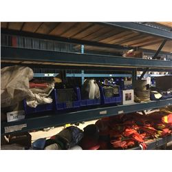 SHELF LOT OF ASSORTED SHOP SUPPLIES AND MORE