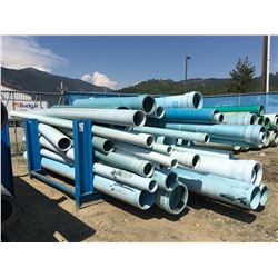 LOT OF C900 WATER MAIN PIPE WITH BLUE STEEL RACK