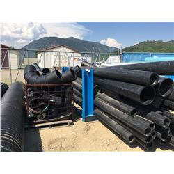LOT OF HDPE PIPE AND FITTINGS WITH BLUE STEEL RACK