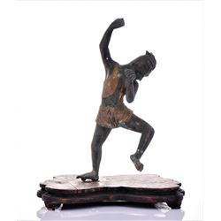 Antique Gilt Bronze of A Leaping Spear Fisherman