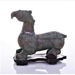 Antique Persian Copper Griffin Censor Sculpture