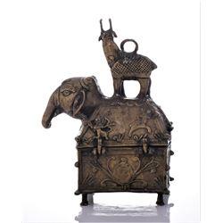 Antique Brass Elephant Travelers Box, India.