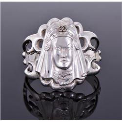Art Deco Diamond Sterling Silver Cuff Bracelet of