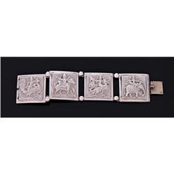 Rare Antique Hindu Vahana Sterling Silver Bracelet