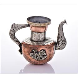 Antique Tibetan Silver Copper And Brass Dragon Tea