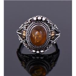 Natural Amber Sterling Silver Ring With 14K Gold