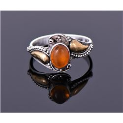 Vintage Amber Sterling Silver Ring With Gold Accent