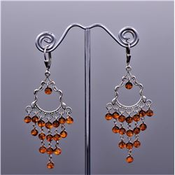 Amber Sterling Silver Art Deco Cascading Drop Earrings