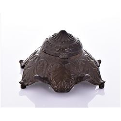 Antique Art Nouveau Bronze Inkwell.