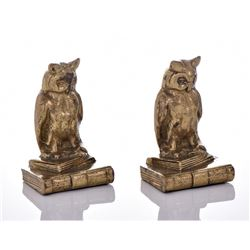 Two Solid Brass Wise Owl Bookends Marked Canada.