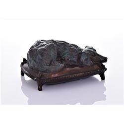 Vintage English Bronze Sculpture of A Dog Resting