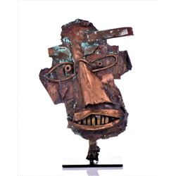 Vintage Copper Steam Punk Face Sculpture.