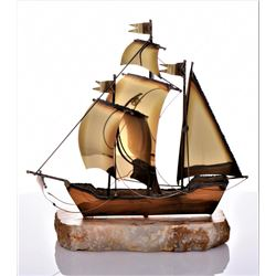 Large Mid-Century Brutalist Brass Sailboat Sculpture
