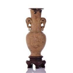 A Fine Vintage Chinese Stone Carved Elephant Vase.