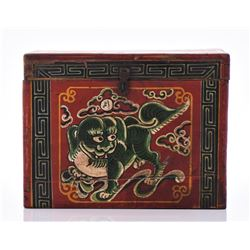 Antique Chinese Ca. 1850 Storage Box With Hand