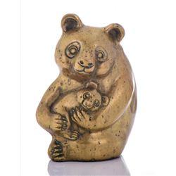 Large Chinese Brass Panda Bear Holding Her Baby