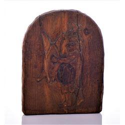 Antique Spanish Folk Art Wood Carving of A Man