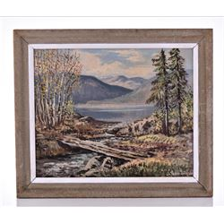 Eriksen Signed 1952 Painting of A Norway Lake And