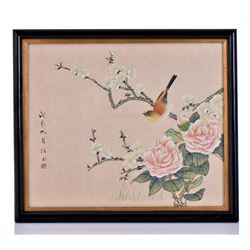 Japanese Artist Painting, Gouache And Watercolor