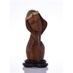 Art Deco Bust of A Women, Wood Sculpture Mounted