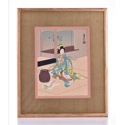 Japanese Original Painting Gouache Watercolor On